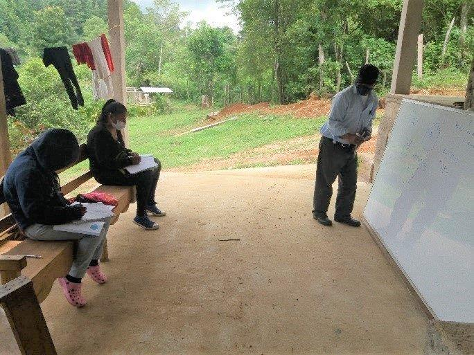 Feliciano Martinez, project coordinator, giving classes outdoors due to Covid, 2020